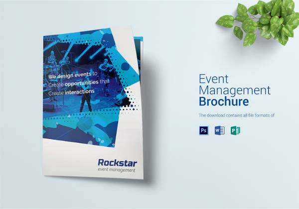 event management bi fold brochure template