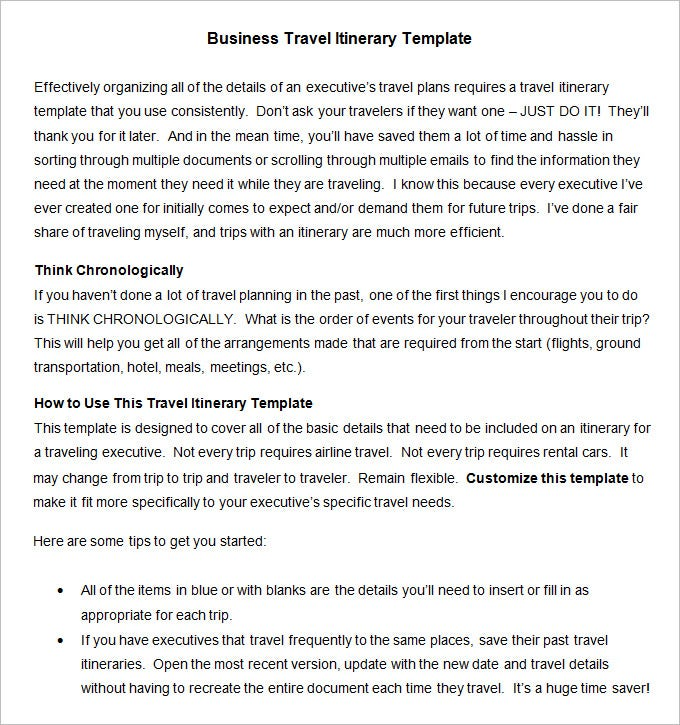 example business travel itinerary template pdf download