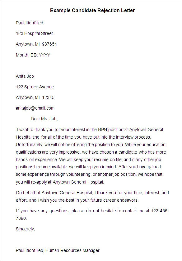 example candidate rejection letter