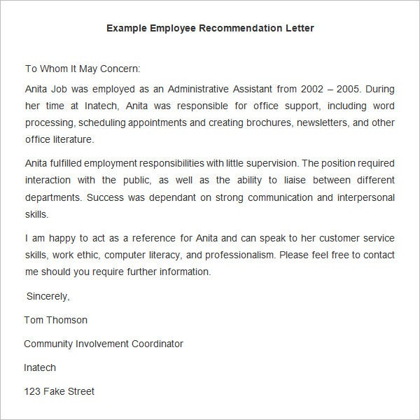 Example Employee Recommendation Letter Template  Letter Of Reference For Employee