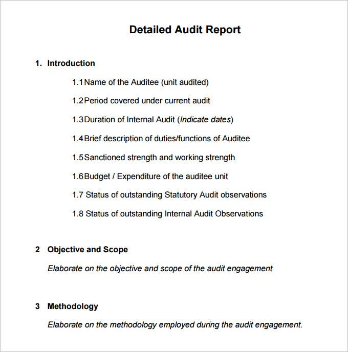 Example Internal Audit Report Template Download
