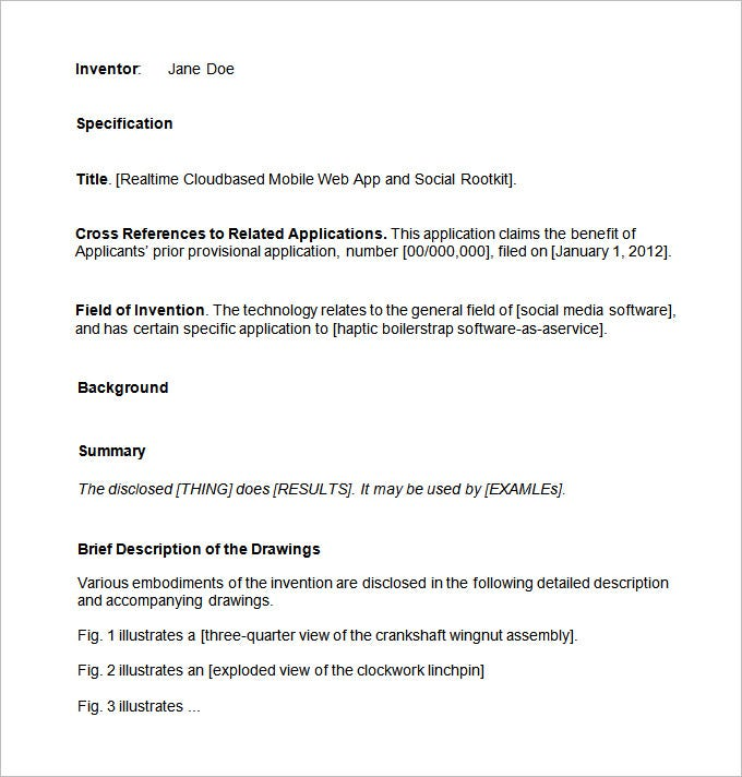 Provisional patent template doc templates for pages app.