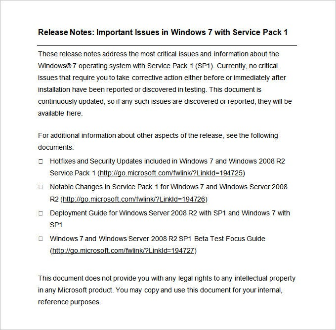 Release Notes Template   Free Word Pdf Documents Download  Free