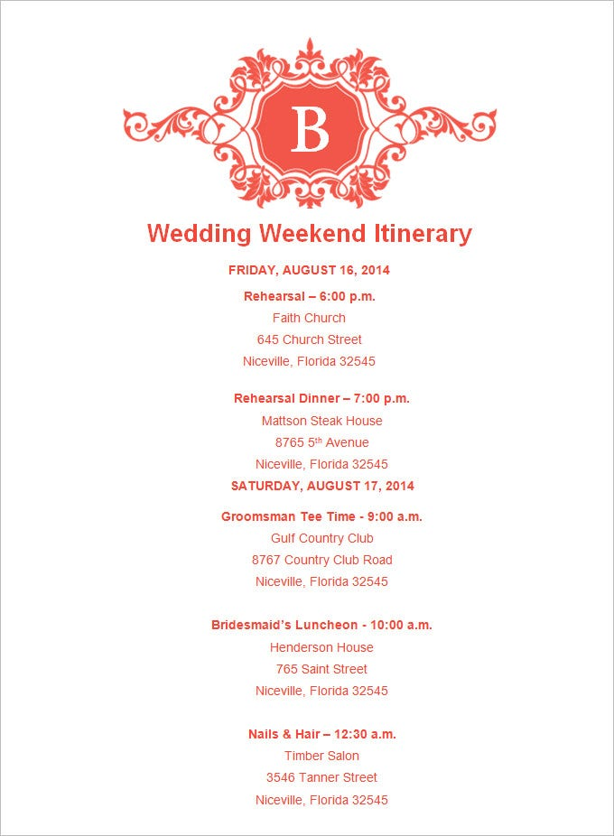 wedding day schedule of events template - 4 sample wedding weekend itinerary templates doc pdf