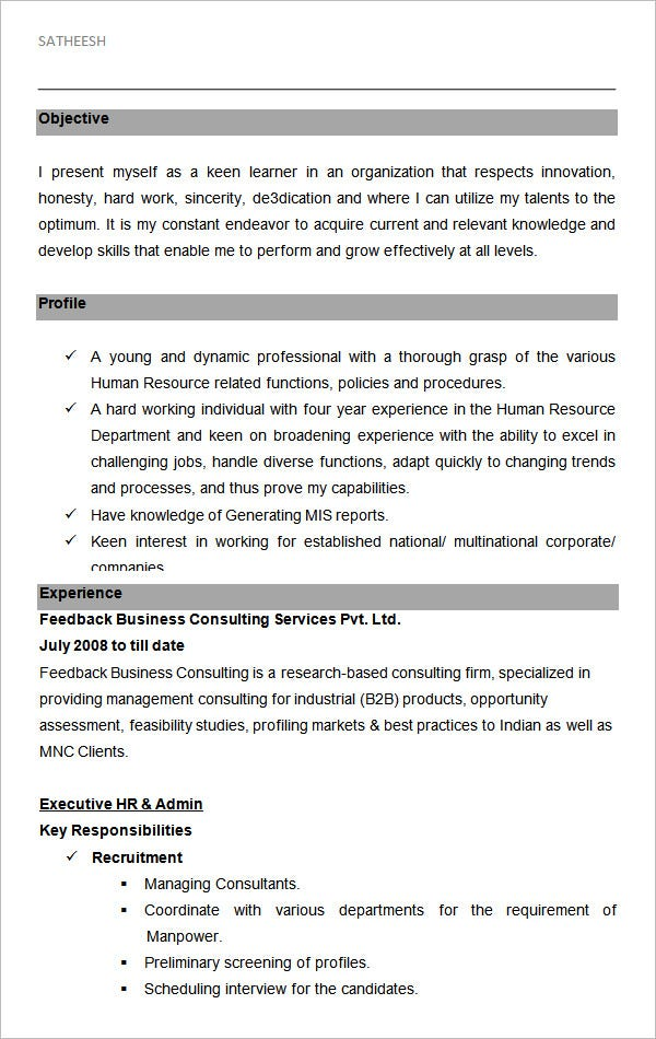 executive hr and admin sample resume format template free templates