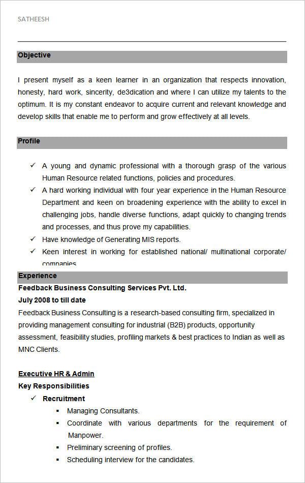hr sample resume hr sample resume
