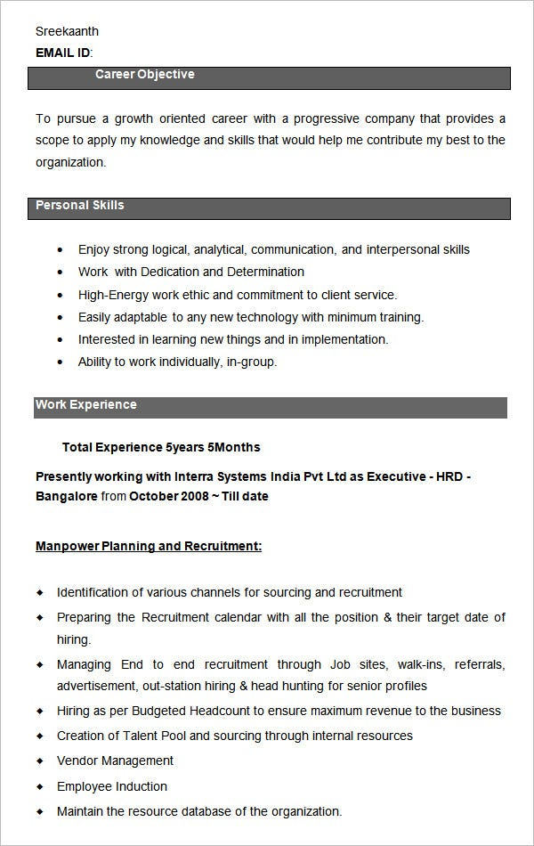 40 HR Resume CV Templates HR Template – Hr Executive Resume