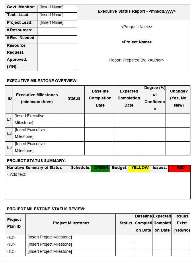 Status Report Templates 12 Free Word Documents Download
