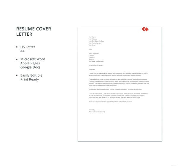 experienced hr resume cover letter template