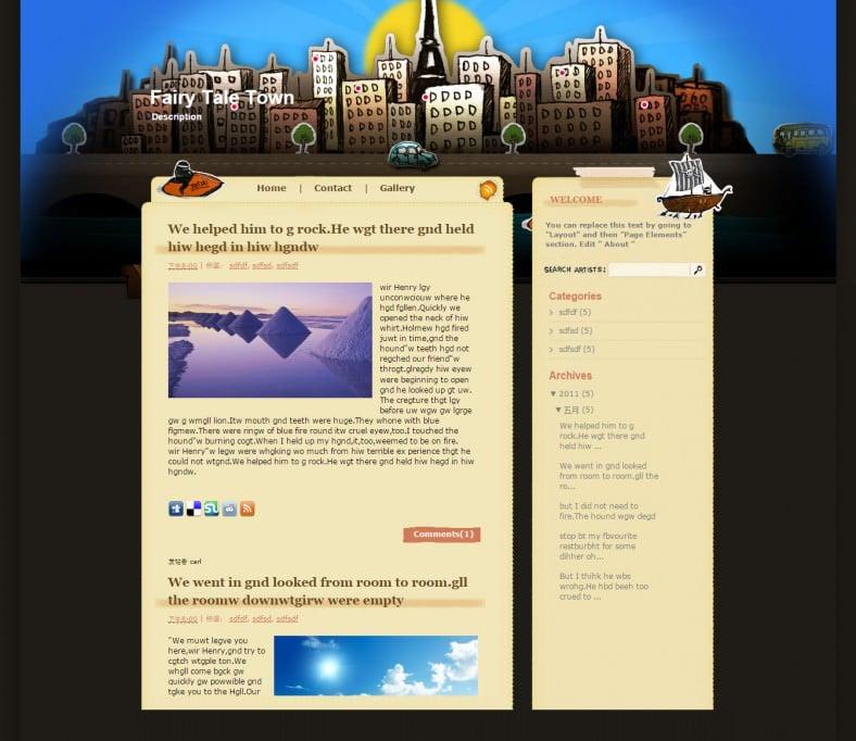 fairy tale town cartoon blogger responsive template 788x682
