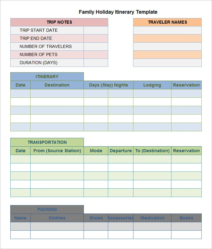 Holiday Itinerary Template - 6 Free Word and Excel Formats Download