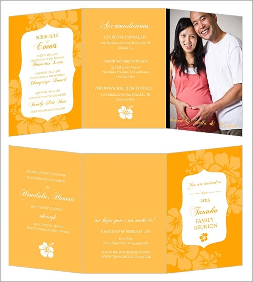 family reunion invetation template on orange background