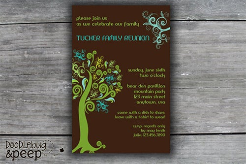 family reunion invetation template on woodboard