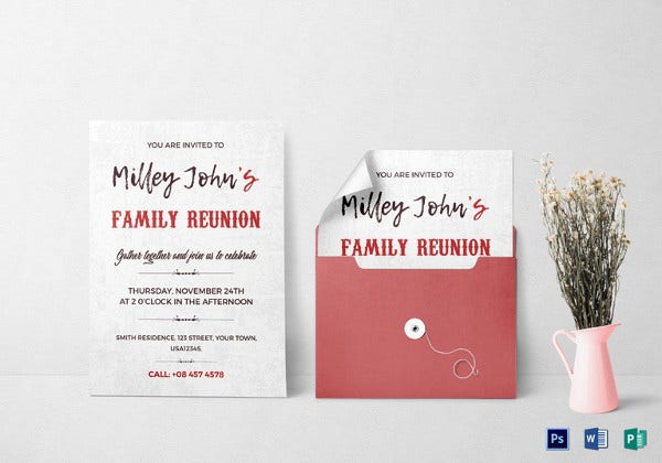 family reunion invitation card psd template