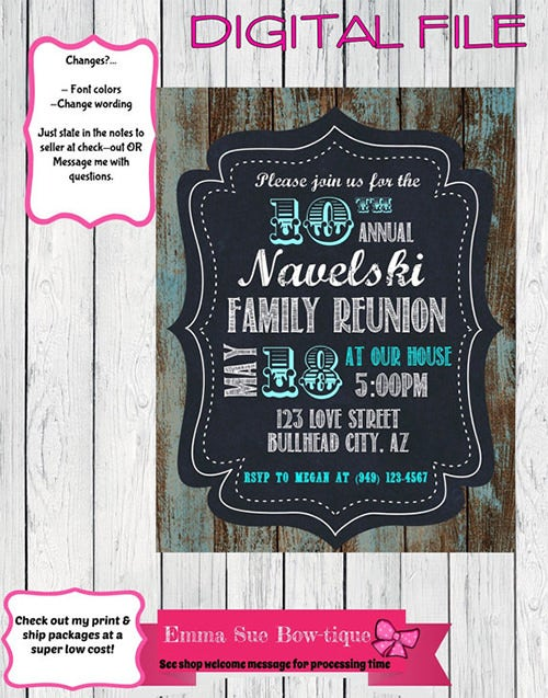 family reunion invitation template on rustic wood