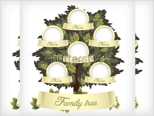 family tree template for kids vector illustration