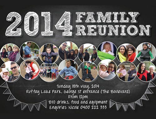 family or school reunion invitation template with photos