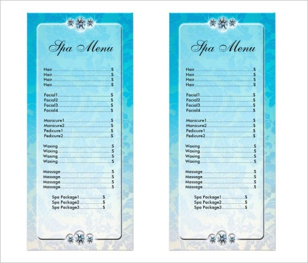 fancy salon spa menu template