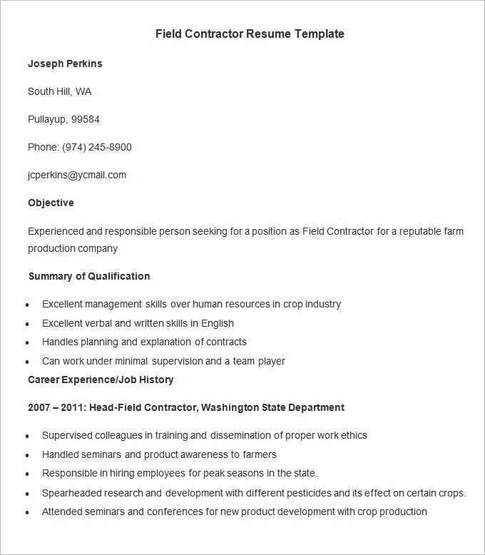 Agriculture Resume Template U2013 24+ Free Samples, Examples, Format Download!  Contractor Resume