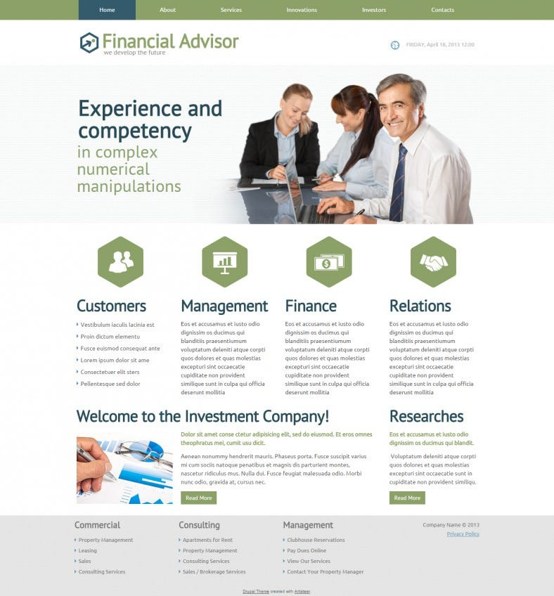 financial advisor drupal theme 788x848