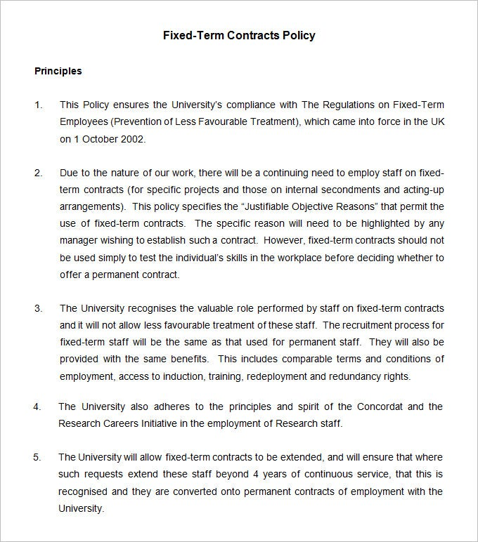 fixed term contracts policy template