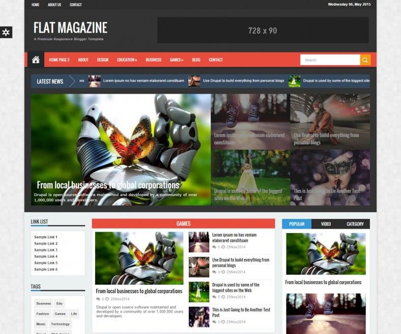 Responsive Falt Magazine News Drupal Theme