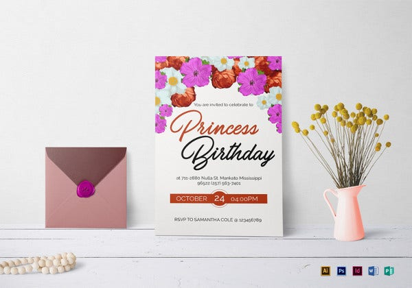 floral birthday invitation indesign template