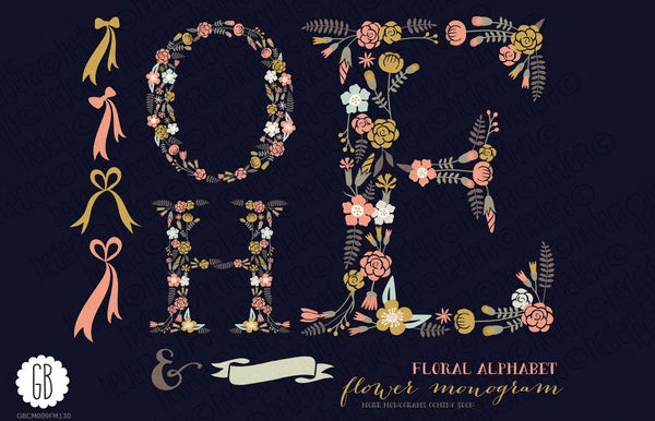 floral large alphabet letters template