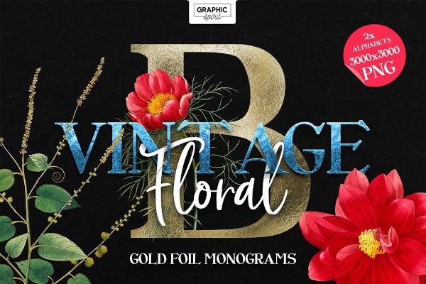 floral monogram alphabet letters