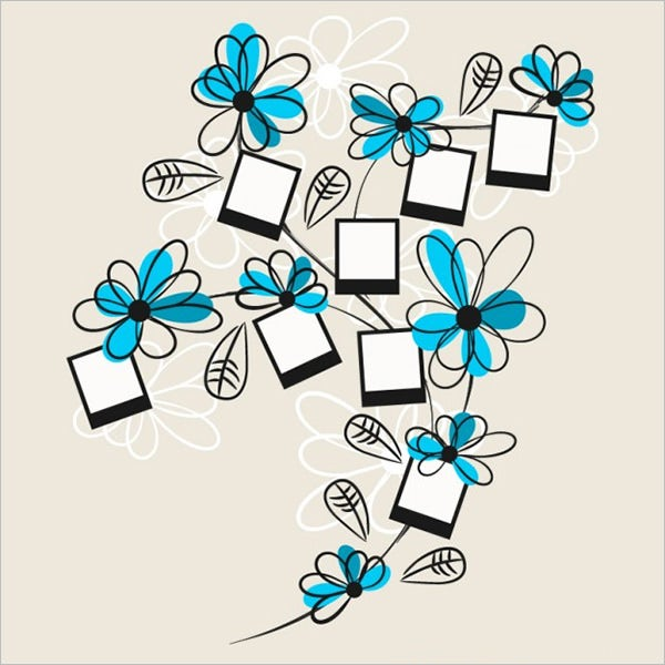 floral polaroid drawing template