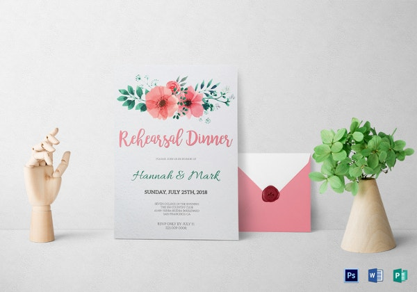 floral rehearsal dinner invitation templat