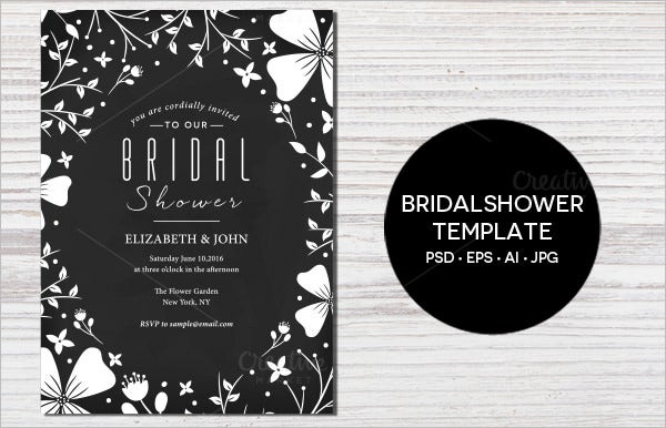 floral wedding shower invitation template