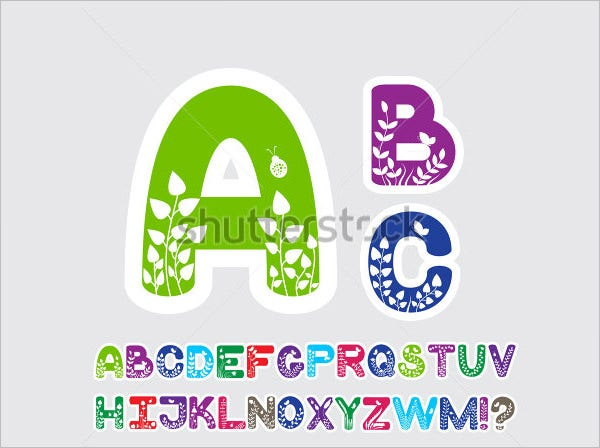 flower font large alphabet letters template