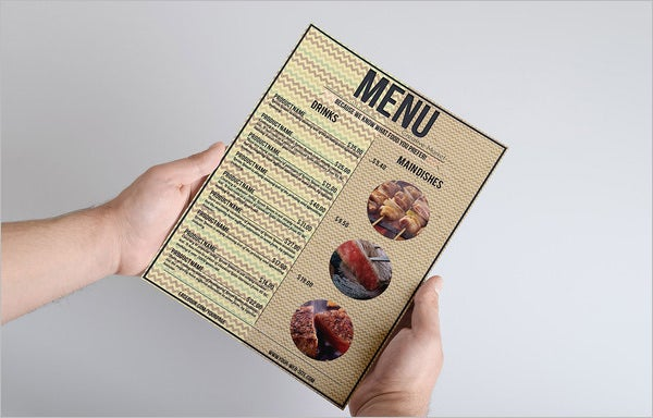 food menu template elegant retro style
