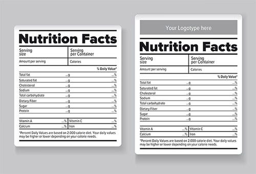 food nutrition facts label template