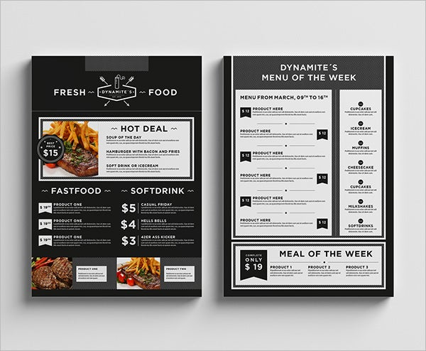 food restaurant menu template