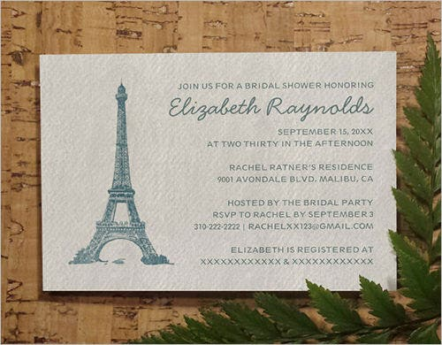 formal paris bridal formal invitation template