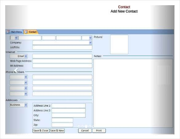 Free Access Database Template  Free  Premium Templates