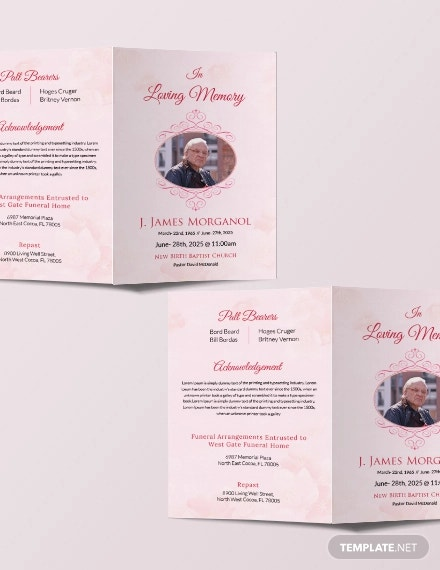 free bi fold funeral brochure template