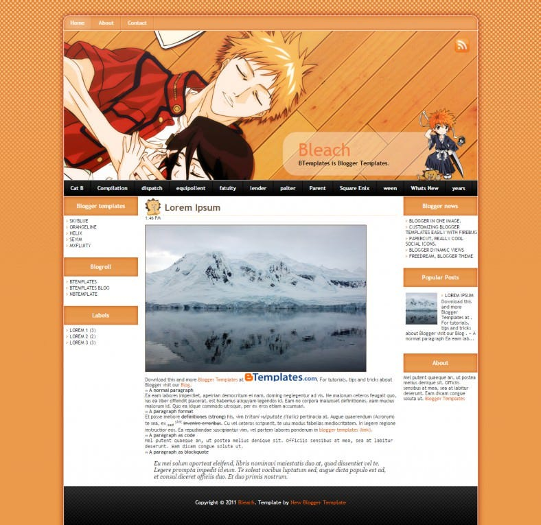 free bleach cartoon blogger responsive template 788x765