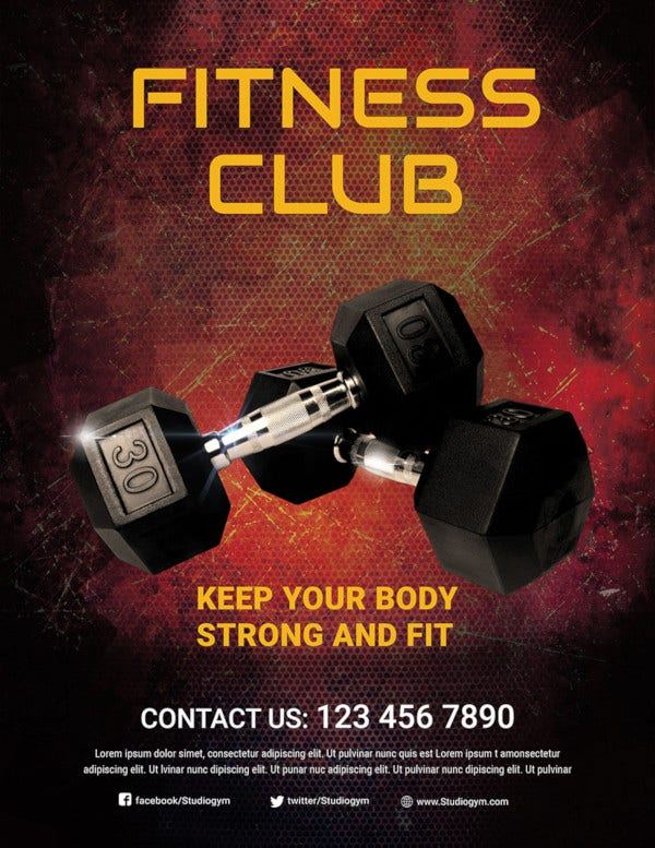 free body fitness club flyer template