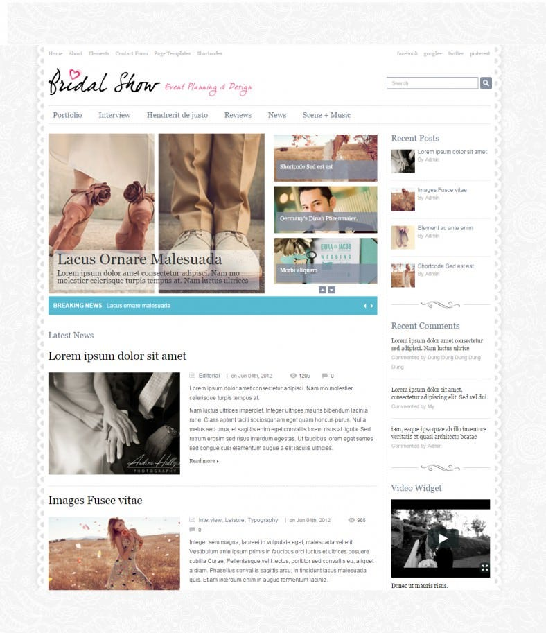 free bridel show wedding responsive wordpress theme1 788x913