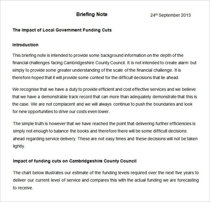 free briefing note template download
