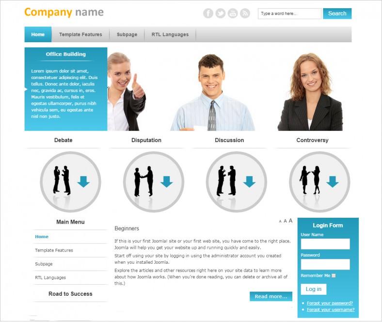 free business marketing company joomla template 788x664