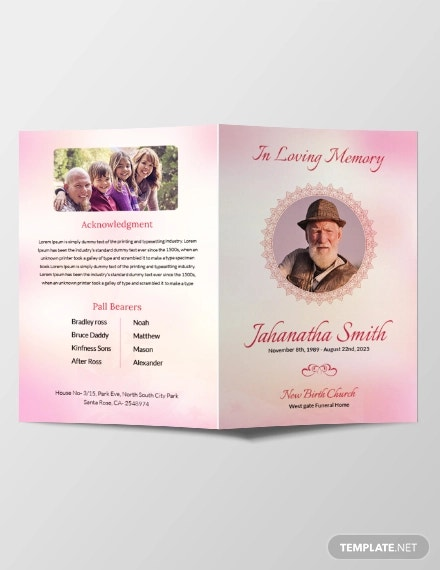 free catholic funeral bi fold brochure template