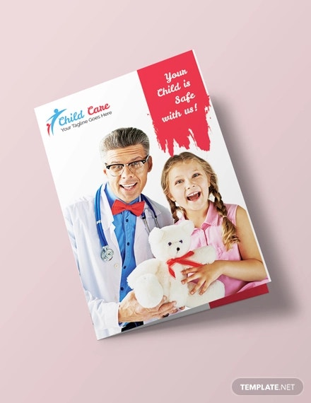 free child care bi fold brochure template