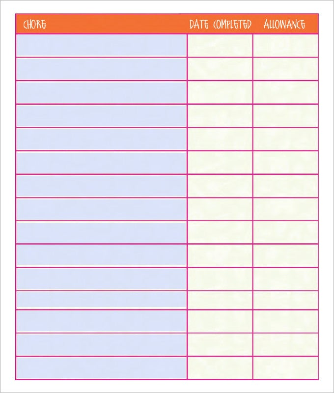 Chore Chart Template 6 Free PDF Word Documents Download – Chore List Template