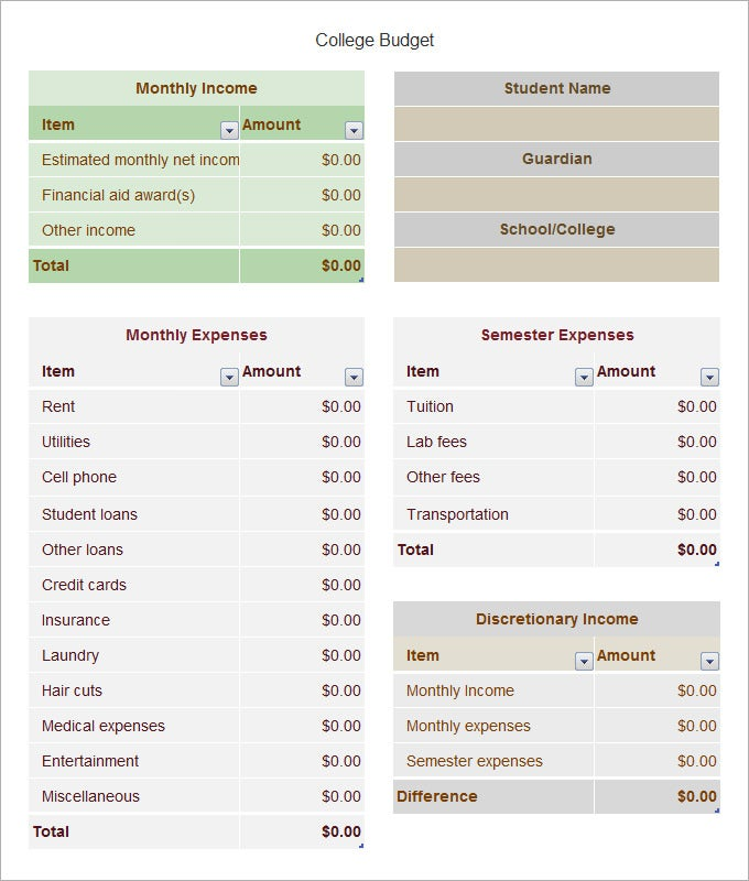 college budget template 8 free word pdf excel documents