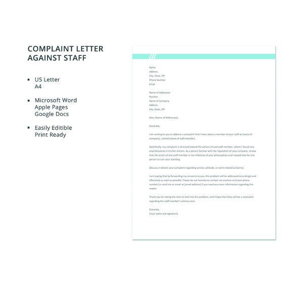 free complaint letter against staff template