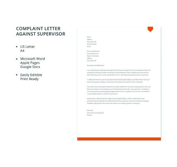 free complaint letter against supervisor template